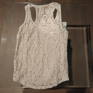 Eyeshadow Tan Lace Racer Back Tank Top Size Small